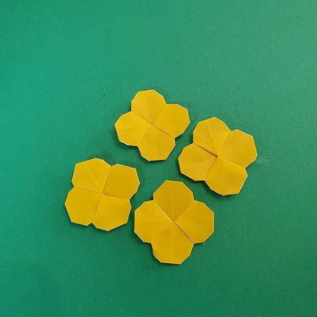 折り紙 菜の花(立体)の折り方作り方1花 (25)