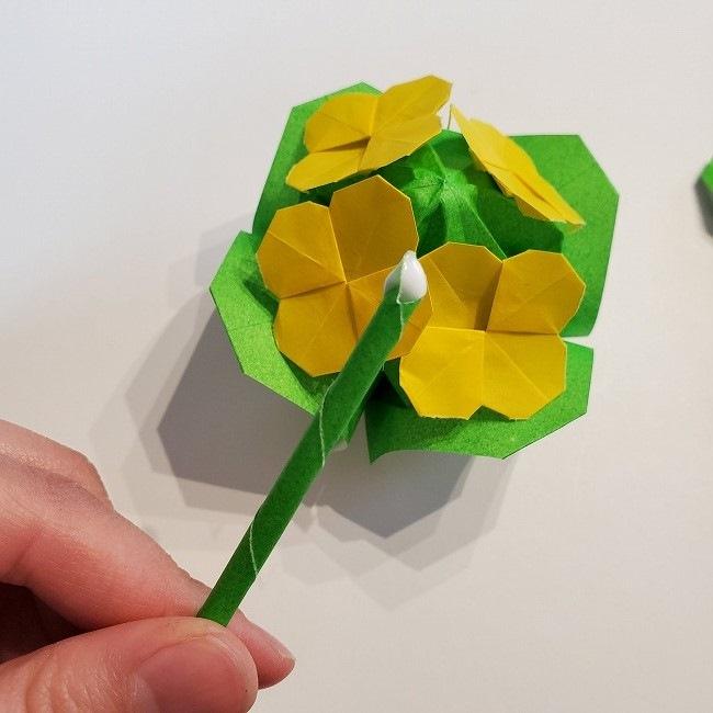 菜の花の折り紙 葉っぱと茎の作り方・折り方3完成 (2)