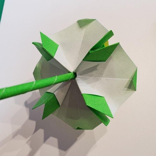 菜の花の折り紙 葉っぱと茎の作り方・折り方3完成 (3)