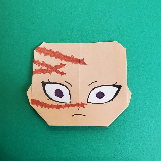 鬼滅の刃の折り紙 さねみ(不死川実弥)の折り方作り方5完成 (2)
