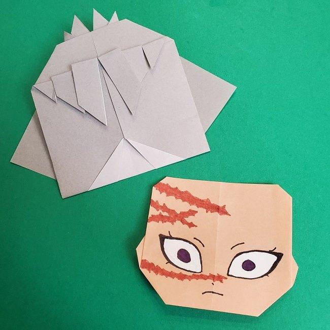 鬼滅の刃の折り紙 さねみ(不死川実弥)の折り方作り方5完成 (3)