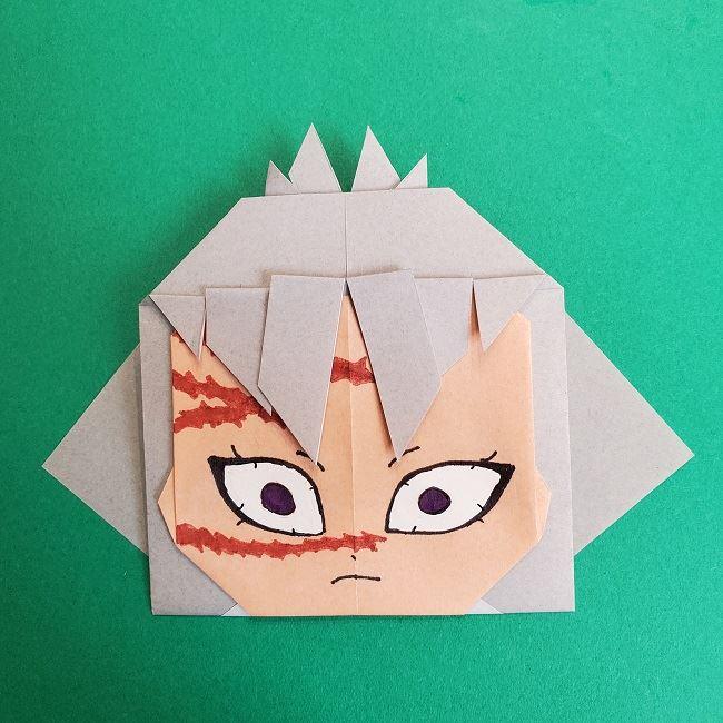 鬼滅の刃の折り紙 さねみ(不死川実弥)の折り方作り方5完成 (4)