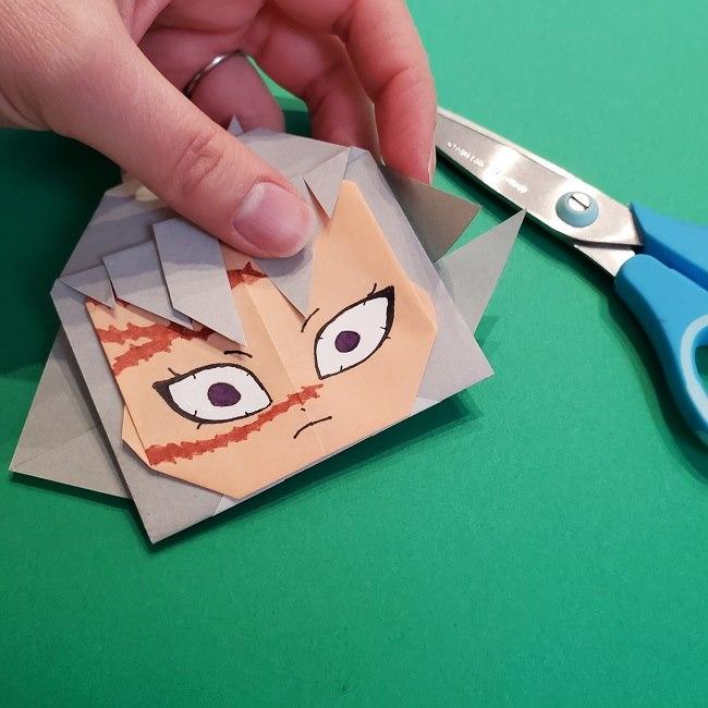 鬼滅の刃の折り紙 さねみ(不死川実弥)の折り方作り方5完成 (6)