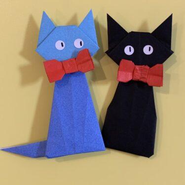 黒猫ジジの折り紙 簡単な作り方折り方☆魔女の宅急便のキャラクター