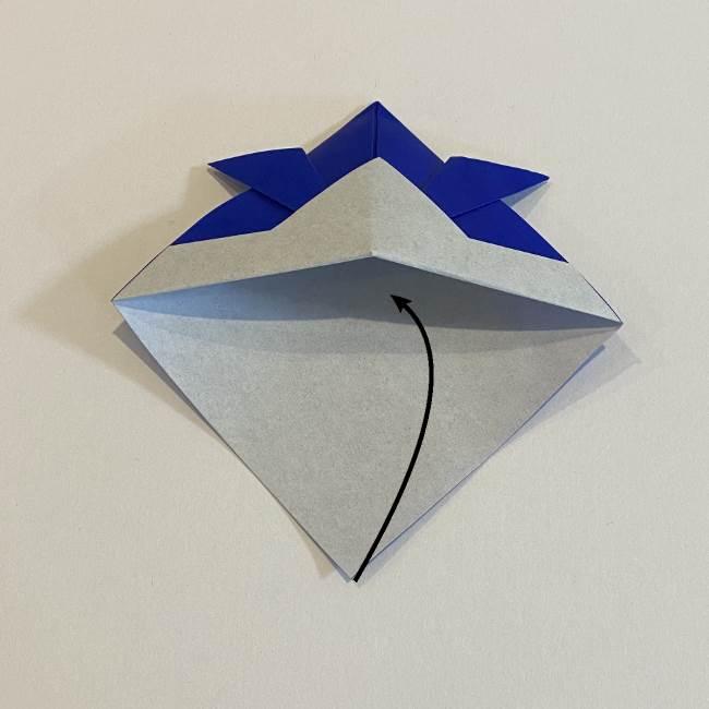 【基本】兜の折り方☆帽子のようにかぶれるよ♪ (10)