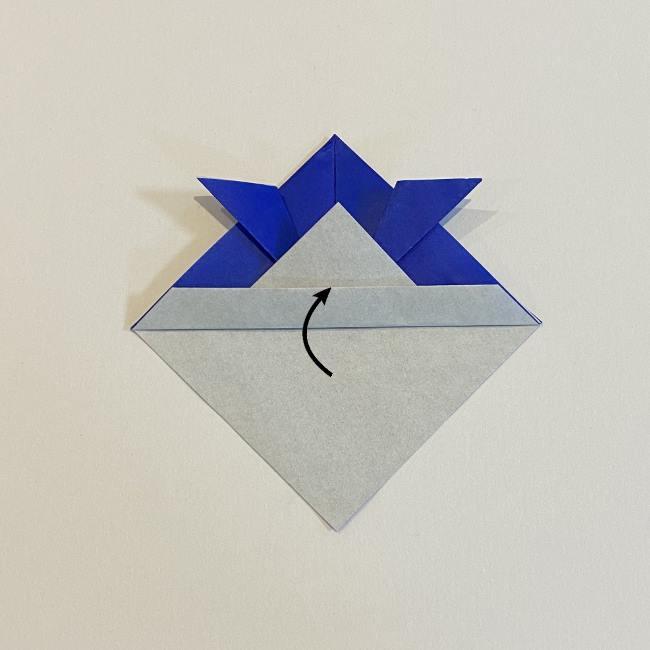 【基本】兜の折り方☆帽子のようにかぶれるよ♪ (9)