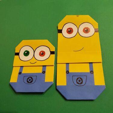 ミニオンズの折り紙の折り方(平面)☆簡単な作り方でボブとケビンを作ったよ!