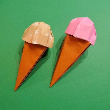 折り紙でアイスクリームコーンを立体的に製作できた!折り方作り方を紹介♪