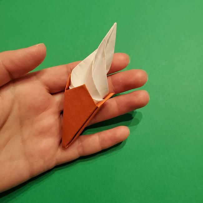 折り紙のソフトクリーム(立体)の折り方作り方コーン(40)