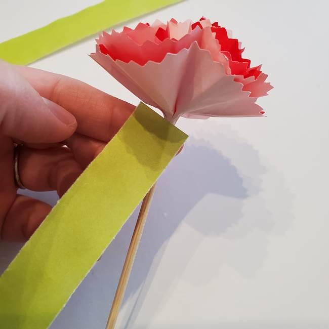 カーネーションの折り紙 本格的でリアルな花の作り方②茎(3)