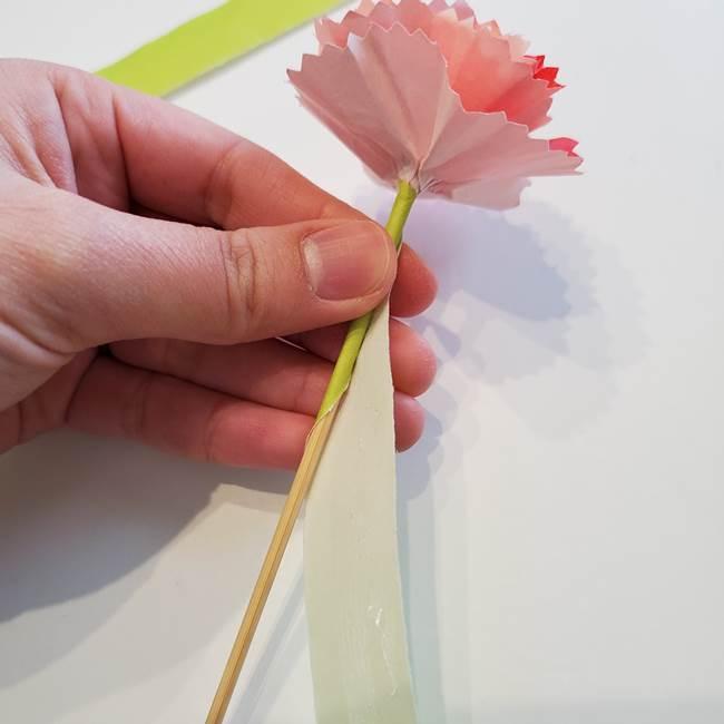 カーネーションの折り紙 本格的でリアルな花の作り方②茎(4)