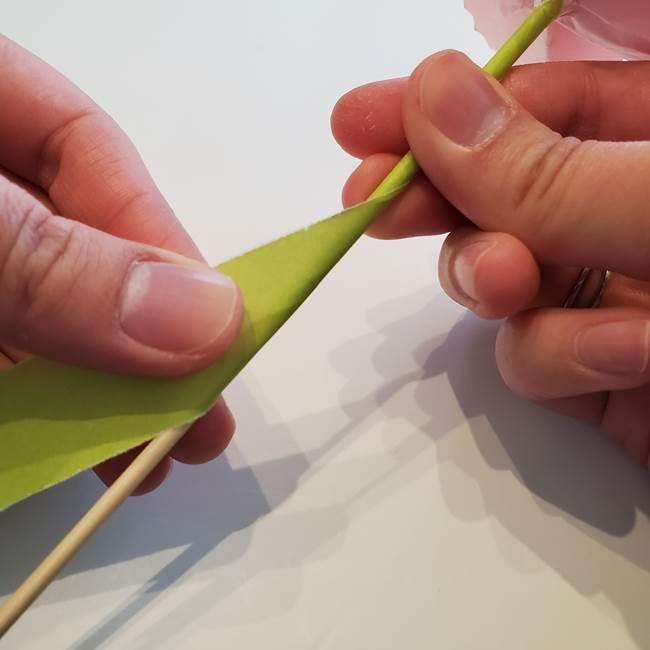カーネーションの折り紙 本格的でリアルな花の作り方②茎(5)