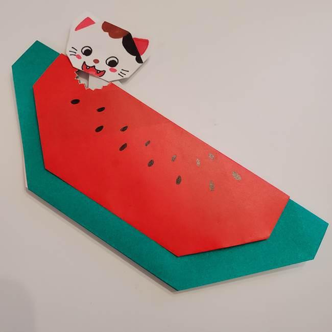 スイカと猫(ネコ)の折り紙☆にゃんこにかじられた西瓜は簡単でかわいい!