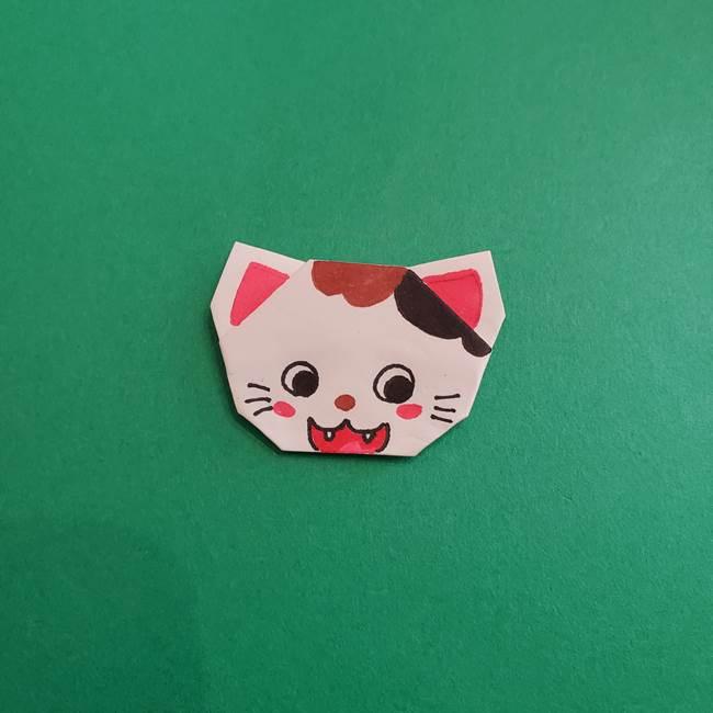 スイカと猫(ネコ)の折り紙は簡単♪③にゃんこ(12)