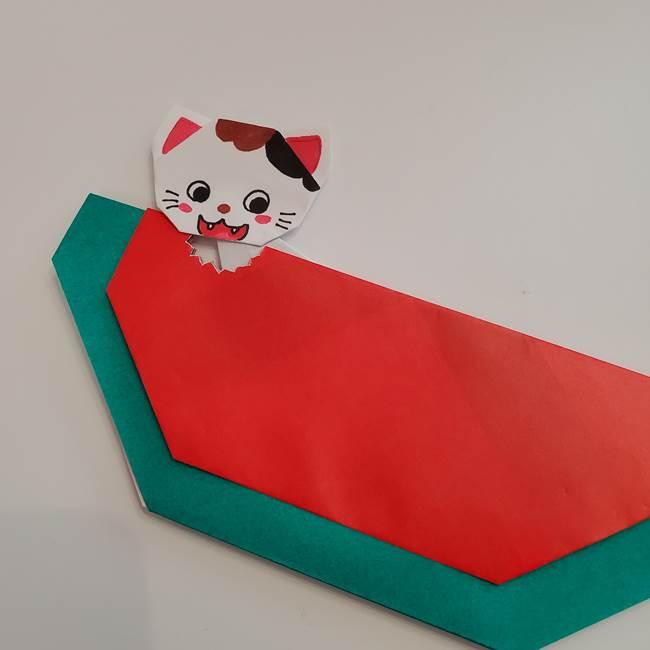 スイカと猫(ネコ)の折り紙は簡単♪④完成(4)