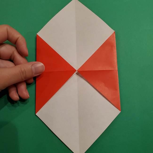 スイカの折り紙 両面とも三角になる作り方折り方(10)