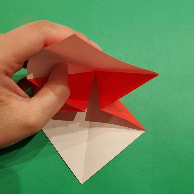 スイカの折り紙 両面とも三角になる作り方折り方(12)