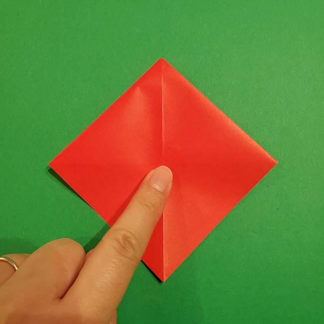 スイカの折り紙 両面とも三角になる作り方折り方(13)