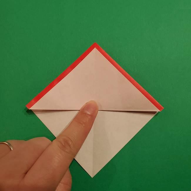 スイカの折り紙 両面とも三角になる作り方折り方(14)
