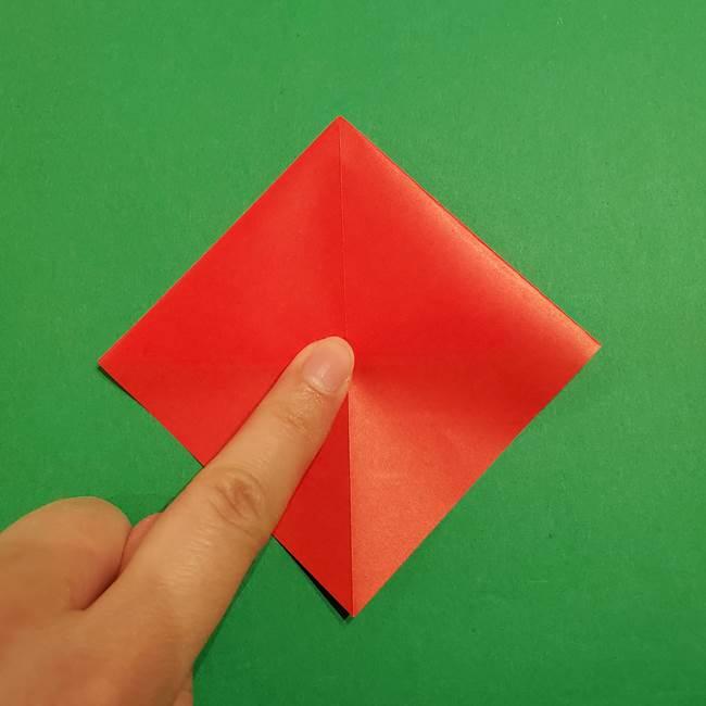 スイカの折り紙 両面とも三角になる作り方折り方(19)