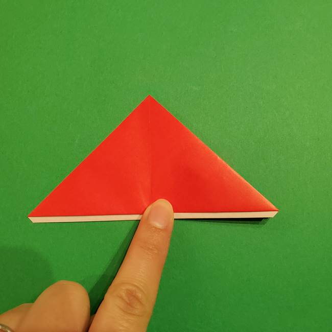 スイカの折り紙 両面とも三角になる作り方折り方(22)
