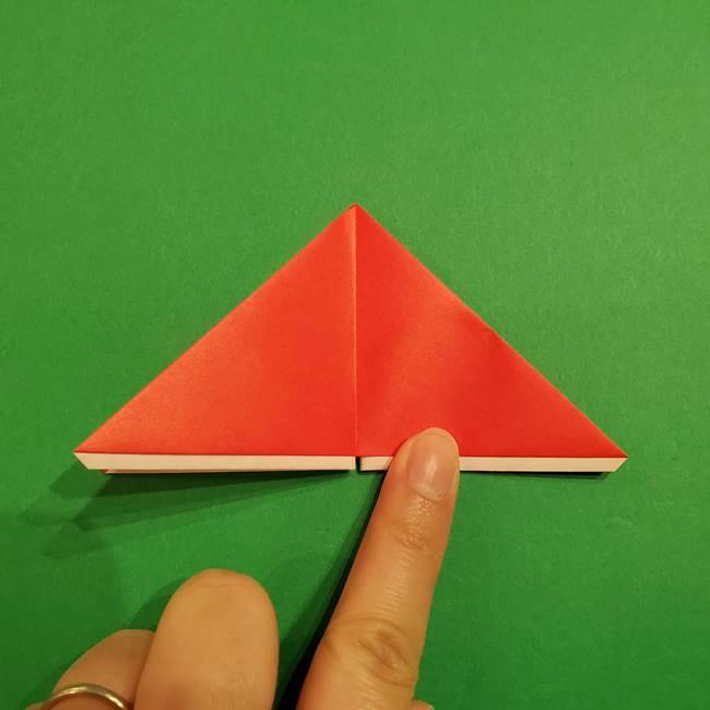 スイカの折り紙 両面とも三角になる作り方折り方(24)