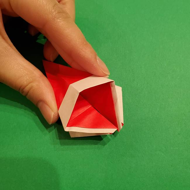 スイカの折り紙 両面とも三角になる作り方折り方(32)