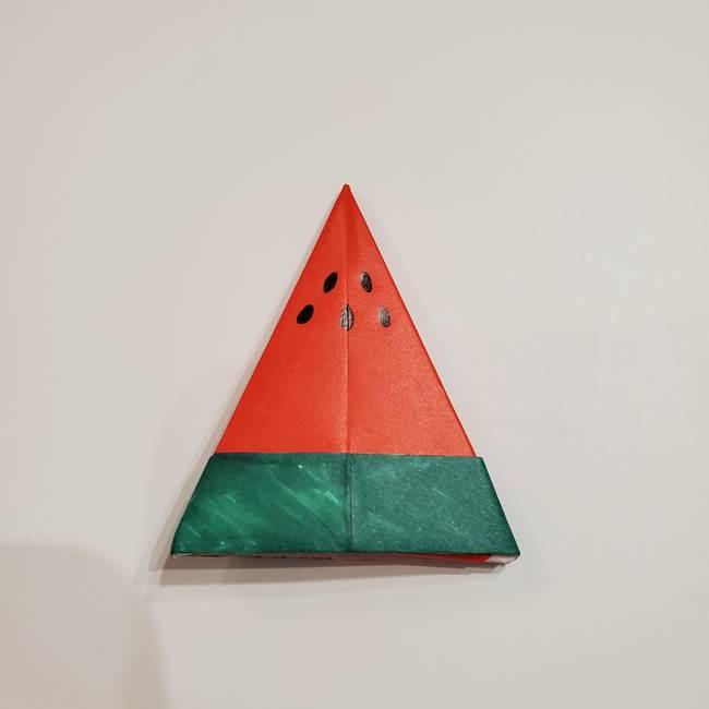 スイカの折り紙 両面とも三角になる作り方折り方(36)