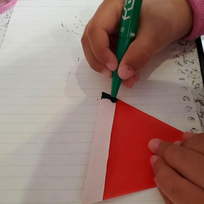 スイカの折り紙 3歳の年少の娘と一緒に手作り☆(11)
