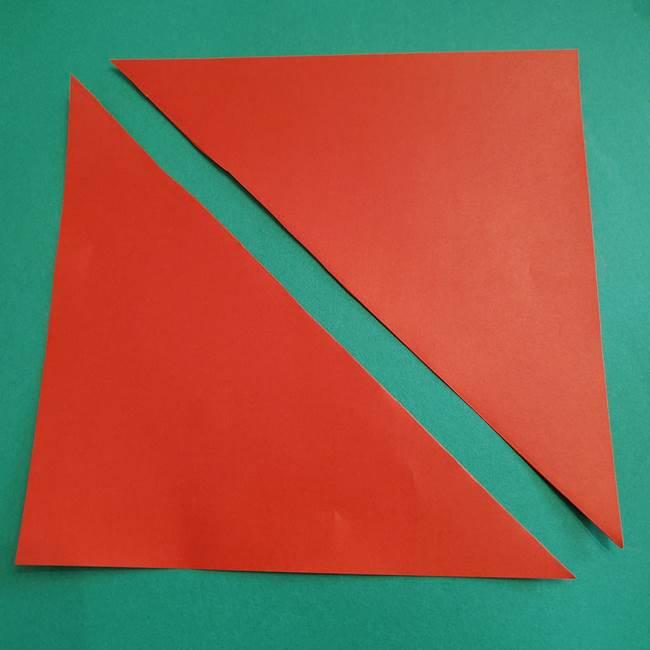 スイカの折り紙 3歳の年少の娘と一緒に手作り☆(2)