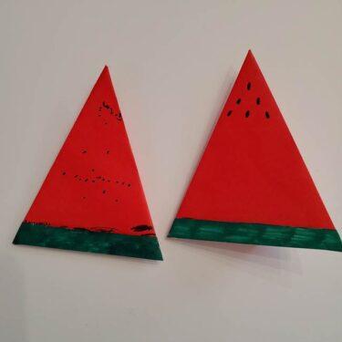 スイカの折り紙 3歳児でも簡単にできた!1枚で折れる折り方作り方☆