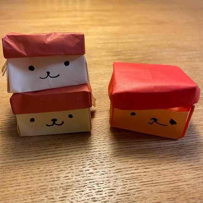 ポムポムプリンの箱の折り紙はきっちり折るのがポイント!