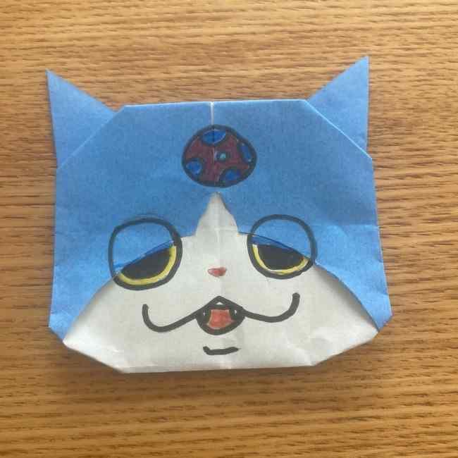 妖怪ウォッチの折り紙 デカニャンの折り方(顔)作り方 (29)