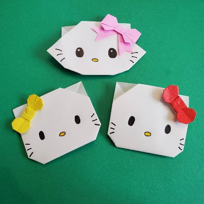 折り紙でつくったチャーミーキティは簡単でかわいい♪