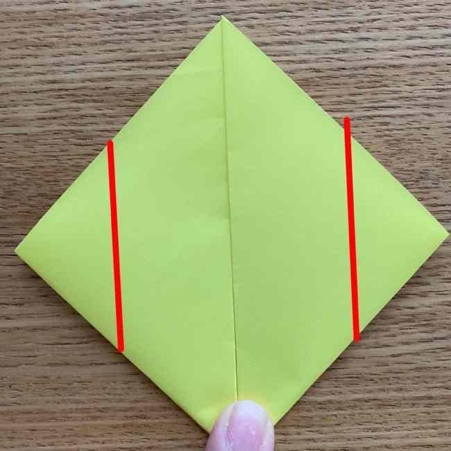 折り紙のキイロイトリの折り方作り方 (5)