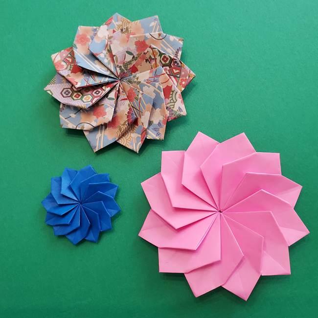 折り紙の花ダリア☆12枚の花びらを1枚でつくる折り方作り方