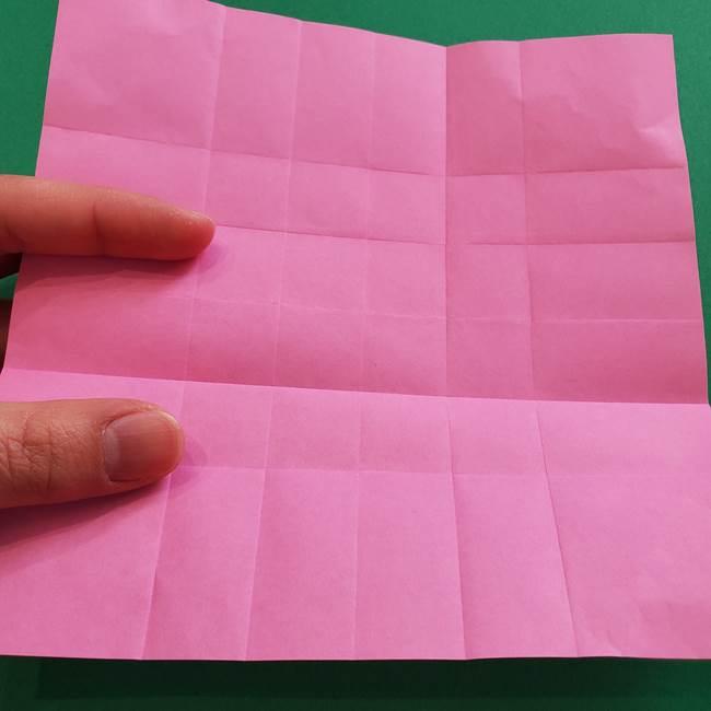 折り紙の花ダリア(12枚)の折り方作り方①折り筋(10)