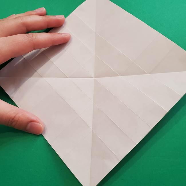 折り紙の花ダリア(12枚)の折り方作り方①折り筋(12)