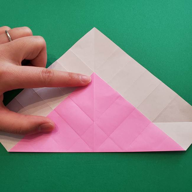 折り紙の花ダリア(12枚)の折り方作り方①折り筋(14)