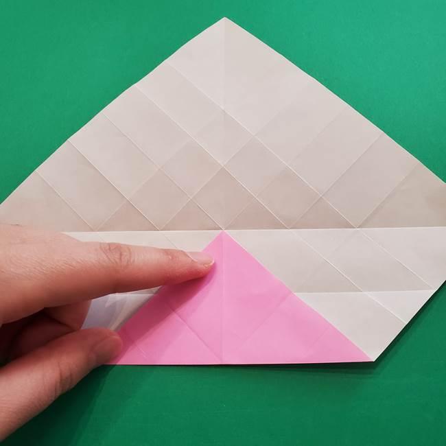 折り紙の花ダリア(12枚)の折り方作り方①折り筋(16)
