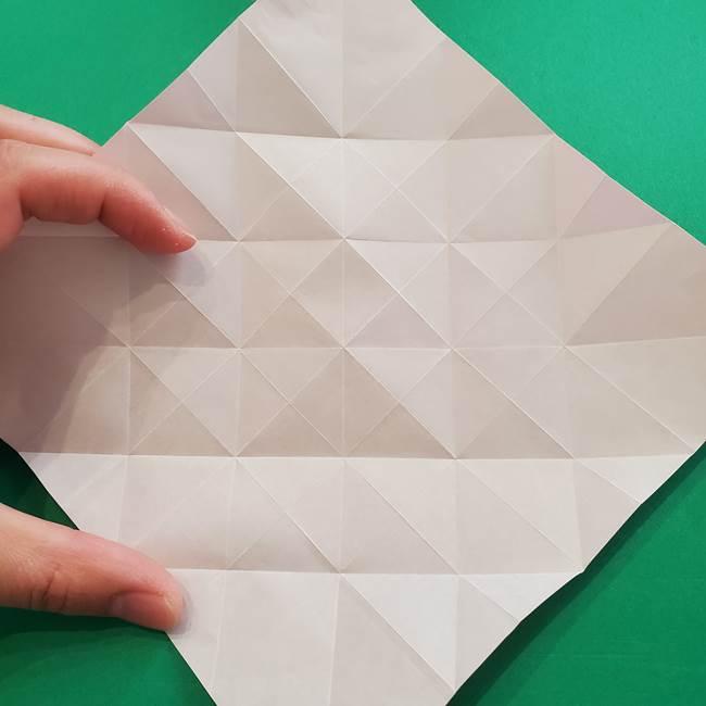 折り紙の花ダリア(12枚)の折り方作り方①折り筋(18)
