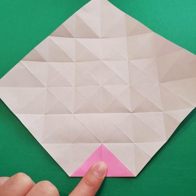 折り紙の花ダリア(12枚)の折り方作り方①折り筋(19)