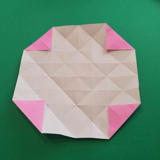 折り紙の花ダリア(12枚)の折り方作り方①折り筋(20)