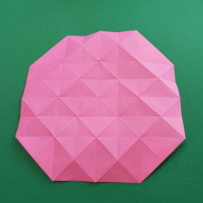 折り紙の花ダリア(12枚)の折り方作り方①折り筋(21)