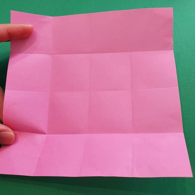 折り紙の花ダリア(12枚)の折り方作り方①折り筋(7)