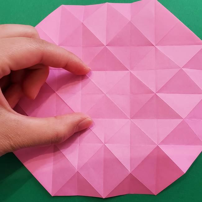 折り紙の花ダリア(12枚)の折り方作り方②折る(1)