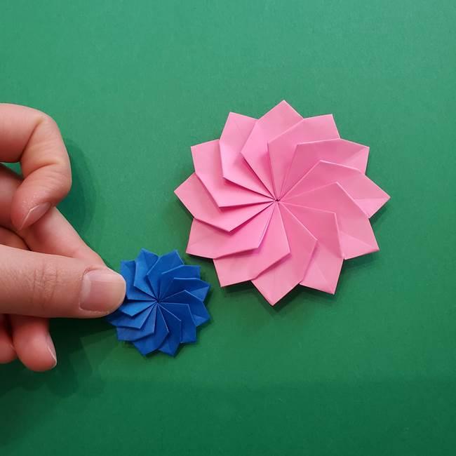 折り紙の花ダリア(12枚)の折り方作り方②折る(26)