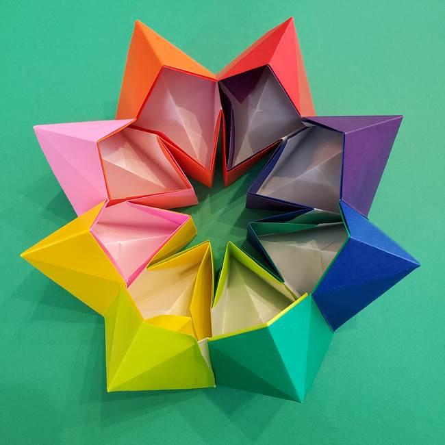 折り紙の花火 8枚でつくる簡単な折り方作り方②組み立て(23)