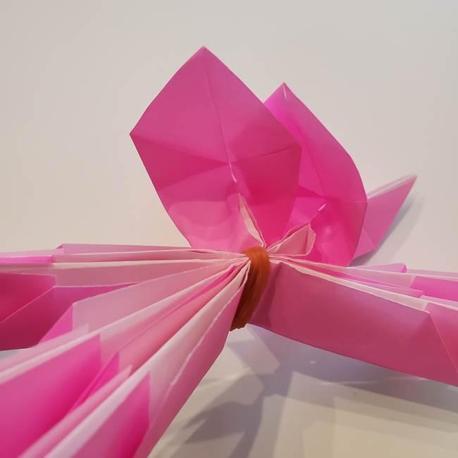 折り紙の蓮(ハス)の花☆立体的な作り方折り方③完成(18)