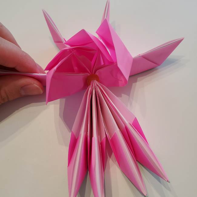 折り紙の蓮(ハス)の花☆立体的な作り方折り方③完成(19)